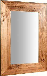 Biscottini Specchio Specchiera Rettangolare da Muro in Legno massello di Tiglio Finitura Naturale 37x3x48 cm