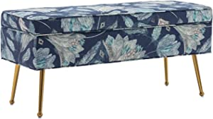 Mid Century Storage Bedroom Benches, Rectangular Fabric Entryway Bed Shoe Bench with Gold Plating Metal Legs &Brass, Retro Floral Pattern (Blue Flower)