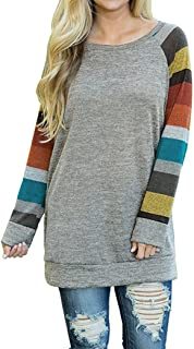 AUSELILY Women's Sweater Color Block Tops Long Sleeve T-Shirts Blouses Top (S Mulit)