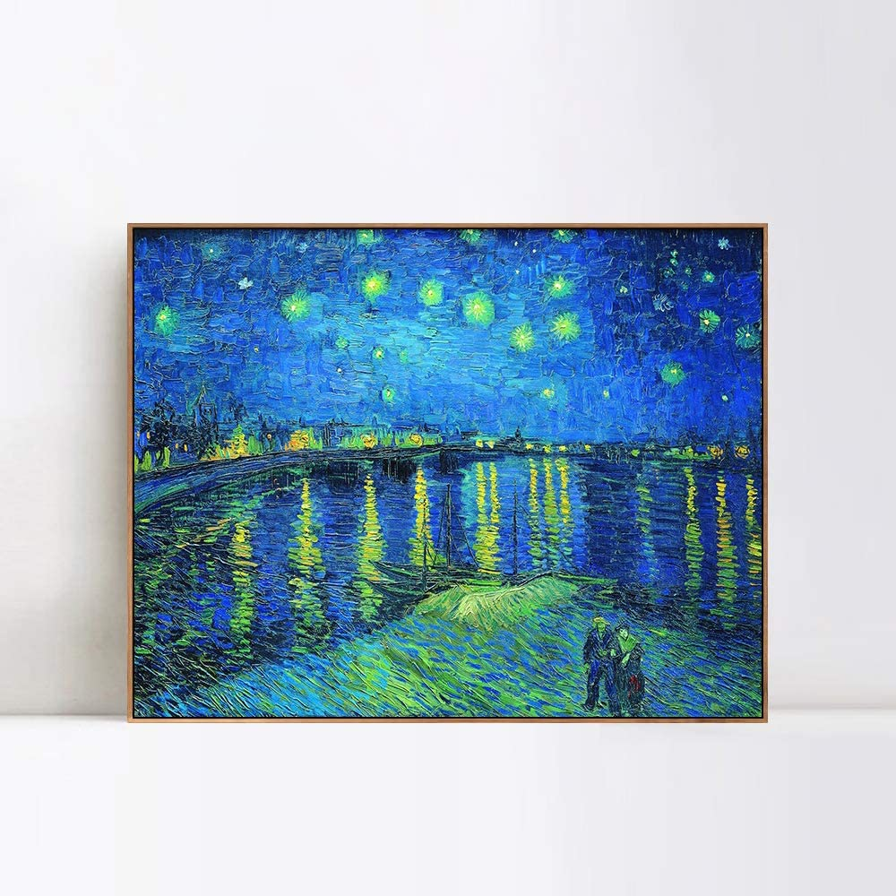 INVIN ART Framed 業界No.1 発売モデル Canvas Giclee Print over The Night Art Starry R