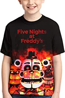 WPORF Youth Five Nights at Freddy's Bear 3D Printed Summer Tops Tee Shirts Short Sleeve for Boys