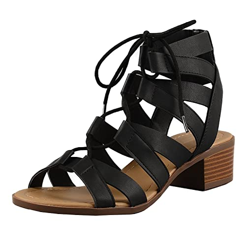 344312d0cd0 Cambridge Select Women s Gladiator Caged Cutout Open Toe Chunky Stacked  Block Lace-up Mid Heel