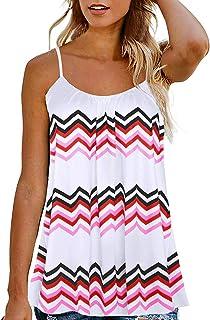 3476593d33d Kaei&Shi Print Long Vest,Flowy Tank Top for Women,Loose Cami,Pleated Dressy
