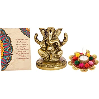 Buy Collectible India Brass Ganesha Idol Showpiece Ganesha Statue For Home Decor Diwali Decoration Items For Home Decor Candle Tealight Holder Birthday Gift Ganpati Showpiece Festival Gift Online