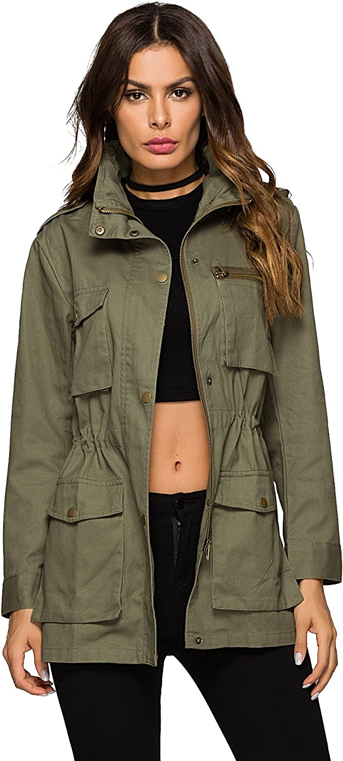 Escalier Green Military Jacket with Hood Ulitily Army Anorak for Women
