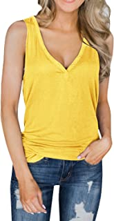 Dellytop Womens V Neck Tank Tops Sleeveless Henley Shirts Button Up Ribbed Long Tunic Tees