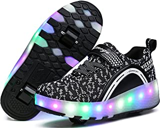 EVLYN Kids LED Light Flashing Sneakers Single Wheel/Double Wheels Roller Skate Shoes