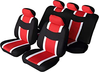 Autonise Universal fit Classic Sport Bucket seat Cover (Fit Most Car,Truck, SUV, or Van with headrest) Airbag Compatible (flatcloth red, Full Set)