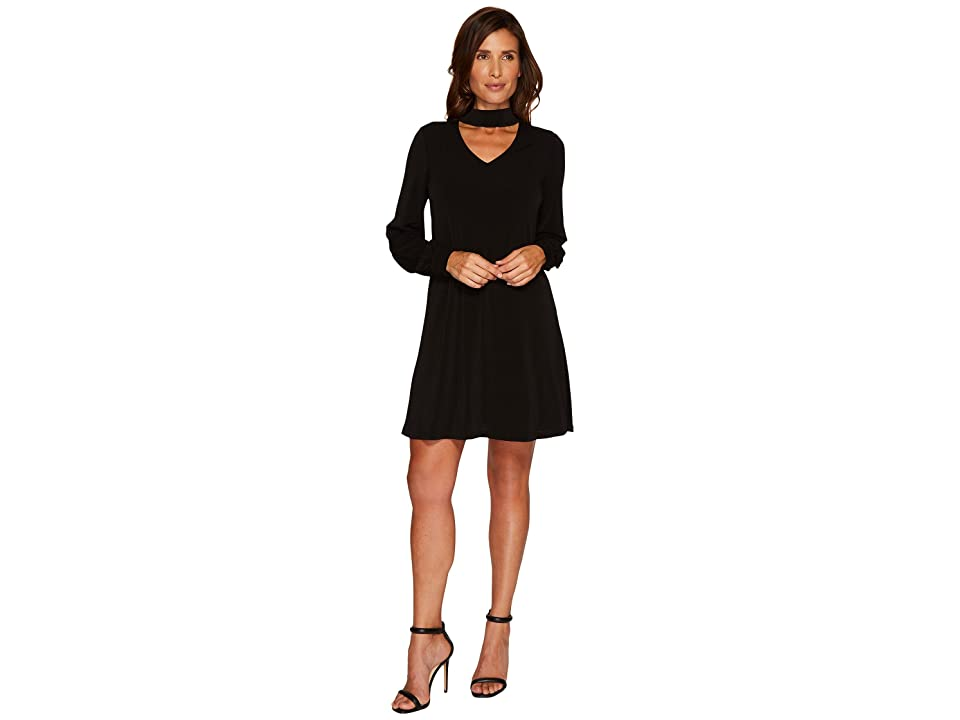 CeCe Long Sleeve Mock Choker Crepe Knit Dress (Rich Black) Women
