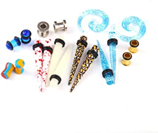 18PC Random Mix Gauges 14G-20mm Assorted Plug Tunnel Taper Steel Acrylic Silicone Expander