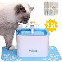 Veken 84oz/2.5L Automatic Cat Water Dispenser with 3 Replacement Filters & 1 Silicone Mat