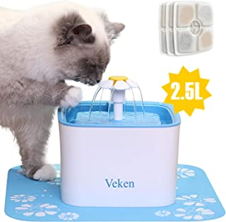 Veken Pet Fountain, 84oz/2.5L Automatic Cat Water...