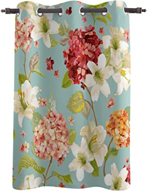 Z&L Home Blackout Window Curtains Thermal Insulated Drapes Hortensia and Lily Flowers Grommet Window Panel Darkening Trea