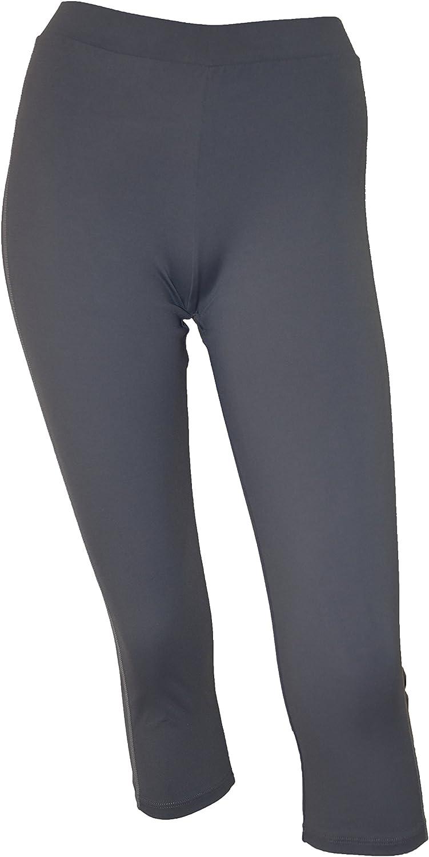 Private Island Hawaii Women UV Rash Guard Leggings Capri Pants (Medium, Grey)