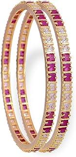 RATNAVALI JEWELS CZ Zirconia Gold Tone Red White Diamond Elegant Bollywood Indian Bangles Jewelry Women