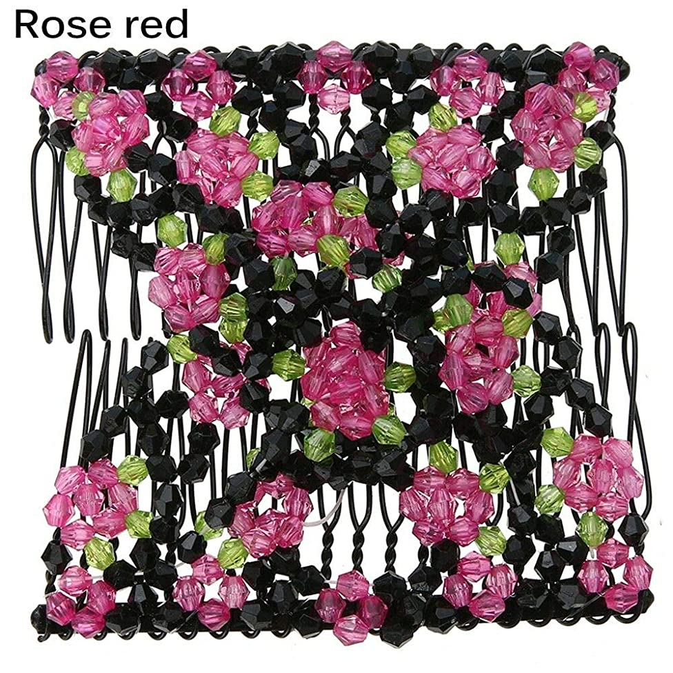 Magic Stretch Rose Flower Bow Glass Bead Hair Head Comb Cuff Double Clips- (Color - Rose Red)