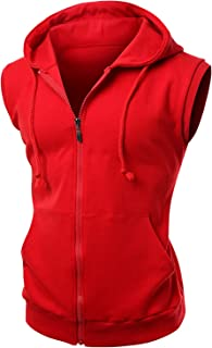 Men's Basic Solid Cotton Based Zipper Vest Hoodie