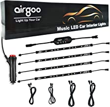 Car LED Strip Light, Rainbow Flow LED Interior Car Lights, Waterproof Music Under Dash Lighting Kit, 30+ Unique Dynamic Mode with 4-Key Controller, 12V Car Charger Include, Long Cables Easy to Install