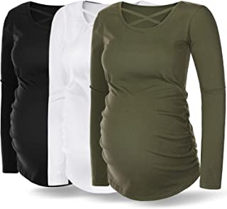 Rnxrbb Women Maternity Long Sleeve T-Shirt Maternity Top Ruched Side Pregnancy Clothes Criss Cross 3 Pack