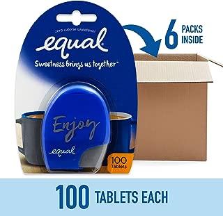 EQUAL 0 Calorie Sweetener Tablets, Sugar Substitute, Zero Calorie Sugar Free Sweetener Tablets, 100-Count (Pack of 6)