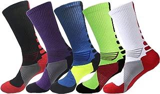 Elite Basketball Socks Cushioned Dri-Fit Athletic Crew Socks for Boys Girls Men Women Pack of 5