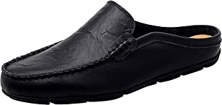Go Tour Mens Mules Clog Slippers Breathable Punching Leather Slip on Shoes Casual Loafers