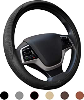 Ylife Microfiber Leather Car Steering Wheel Cover, Universal 15 inch Breathable Anti Slip Auto Steering Wheel Covers, Black