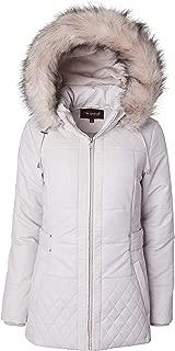 Sportoli Women's Long Down Alternative Puffer Coat Zip-Off Plush Lined Fur Trim Hood
