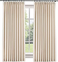 "ChadMade Extra Wide Curtains 100"" W x 102"" L Polyester Linen Drapes with Blackout Lining Pinch Pleat Curtains for Sliding ..."