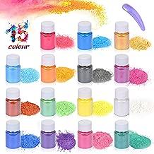 Epoxy Resin Dye,Mica Powder,Pigments Powder,Soap Dye,for Slime Coloring,Bath Bomb Dye,Eyeshadow and Lips Makeup Dye Bright Nail Art Candles Colorants Etc (15 Colors 10g/0.35oz Each)