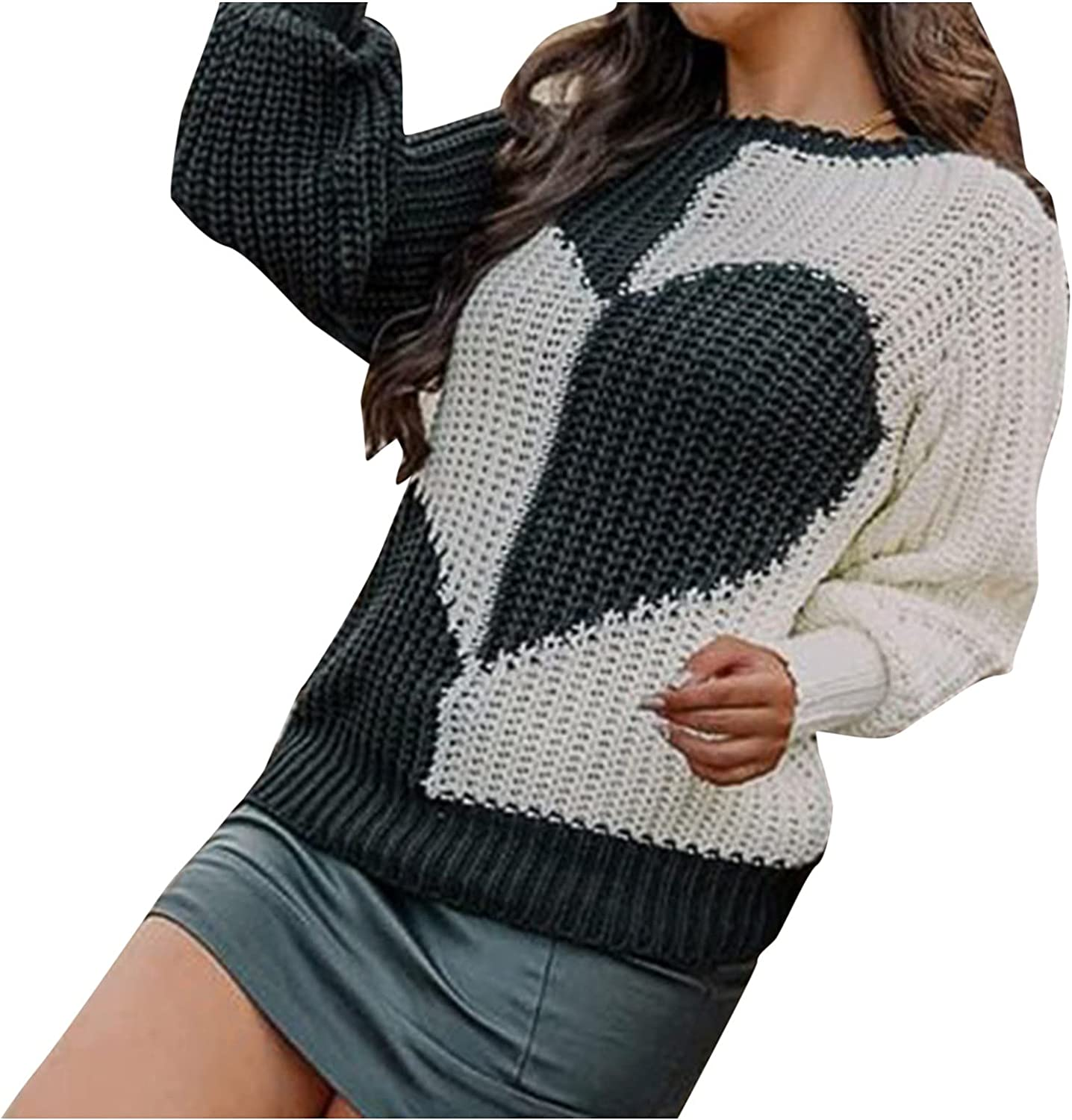 Changeshopping Sweater for Women,Autumn Winter Love Shape Print Long Sleeve O-Neck Sweater Blouse