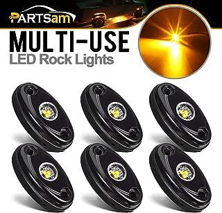 Partsam LED Rock Light Kits 6 Pods Compatible with Jeep TJ JK, F150 F250 Truck Camper RV Car Boat Light ATV UTV RZR General Honda Pioneer Under Body Glow Light Lamp Trail Fender (Yellow 6PCS)