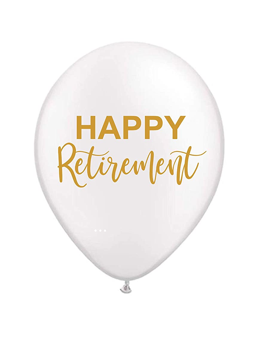 Happy Retirement Balloons - White and Gold - Set of 3