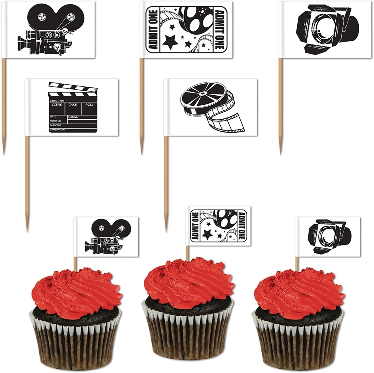 Club Pack of 600 Black and White Movie Set Themed Food, Drink or Decoration Party Picks 2.5