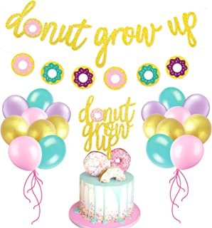 Glitter Donut Party Favors Set-Donut Grow Up Banner,Cake Topper,Balloons -Kids Party Event Decorations