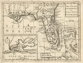 Vintage 1763 Map of the new governments of East & West Florida - Shows Indian villages, Fort Mobile,