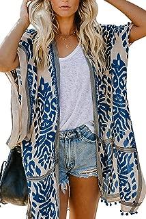 Women's Beach Swimwear Cover Up Kimono Loose Tops Floral Blouse Cardigan
