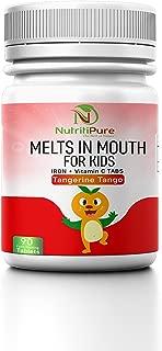 Kids Chewable Iron Supplement (Ferronyl/Carbonyl Iron 9 mg with Vitamin C 30 mg) Tablet in Tangerine Tango Orange Flavor 90 Count (1 Bottle)