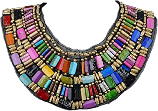 Black Tribal Large U Shaped Draped Multicolour Rainbow Beads Statement Necklace
