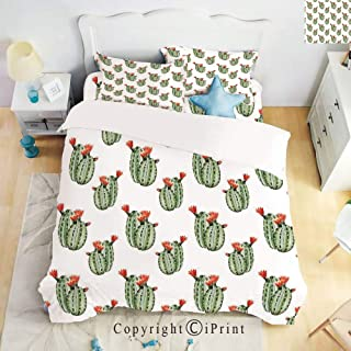 Home Luxury 4-Piece Bed Sheet,Cactus with Spikes and Red Flowers Mexican Hot Desert Vintage Image Art,Green and Orange,Queen Size,Softest Bed Sheets and Pillow Cases