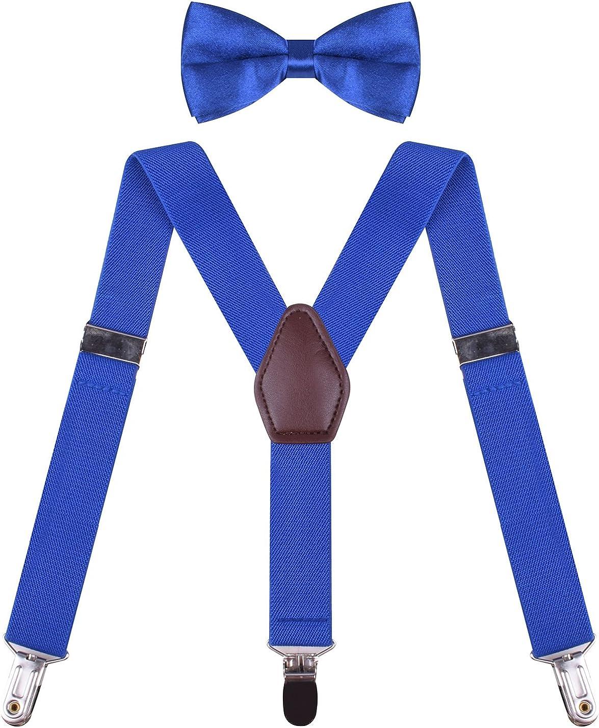ORSKY Boys Suspenders with Bow Tie Set Adjustable Y Back