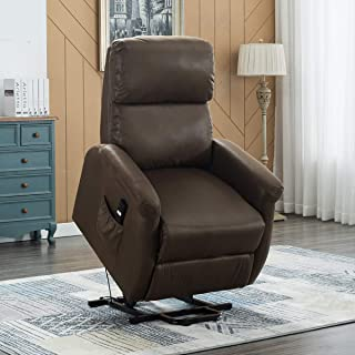 Electric Power Lift Recliner Chair Sofa for Elderly, Bonzy Home Living Room Chair with Overstuffed Design, Power Lift Chair with Safety Motion Reclining Mechanism, Chocolate