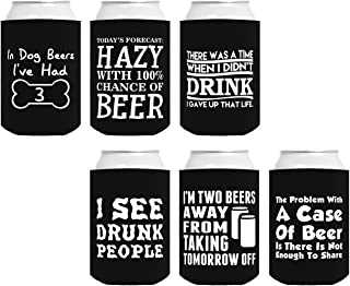 Funny Can Coolie Gift Bundle Funny Sayings Joke Gag Gifts 6 Pack Can Coolie Drink Coolers Coolies Set #1