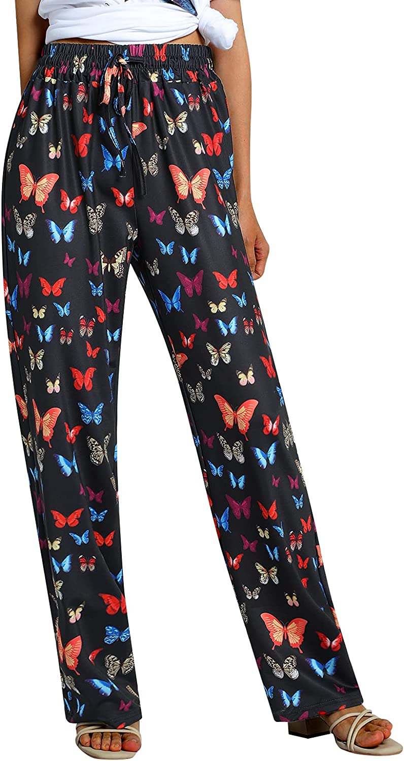 Women Casual Personality Loose Style Lace-up Pants, Butterfly Tie-Dyed Printed Pattern Elastic High Waist Wide-Leg Trousers