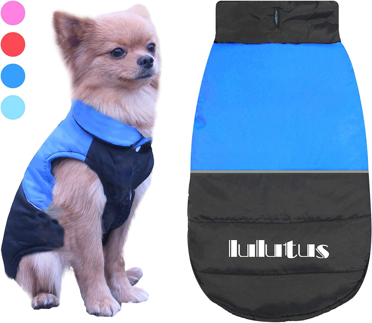 Dog Jackets Winter Waterproof Dog Coats for Cold Weather Clothes Puppy Vest Reversible Style Pets Apparel Dog Sweaters,bluee M
