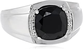 Men's Sterling Silver Onyx and Diamond-Accented Ring, Size 10.5