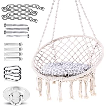 Amazon Com Ohuhu Hammock Chair Hanging Chair Swing With Soft Cushion Durable Hanging Hardware Kit 100 Cotton Rope Indoor Macrame Swing Chairs For Bedroom Balcony Christmas Idea Gifts For Girls Kids Birthday Furniture