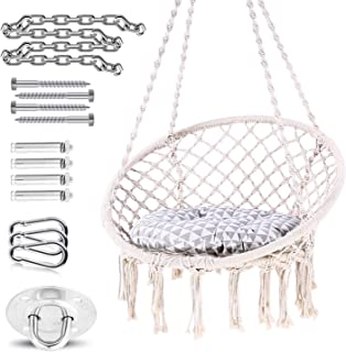 Ohuhu Hammock Chair Hanging Chair Swing with Soft Cushion & Durable Hanging Hardware Kit, 100% Cotton Rope Indoor Macrame Swing Chairs for Bedrooms, Great Gifts for Birthday Xmas Christmas