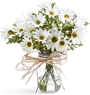 Petals - Farmhouse Daisies Silk Arrangement - Handcrafted - Amazingly Lifelike - 12 x 11 Inches (White)