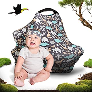 Cool Beans Baby Car Seat Canopy and Breastfeeding Nursing Cover - Multiuse - Covers High Chairs, Shopping Carts, Car Seats - Bonus Infant Baby Beanie and Bag (Zoo)